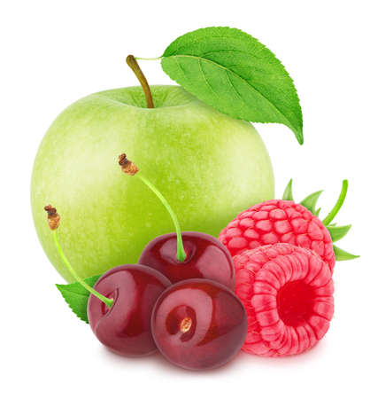 Colourful composition with apple and garden berries - raspberry and cherry, isolated on a white background