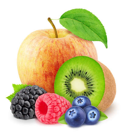 Multicolored composition with assortment of sweet berries and fruits isolated on a white background