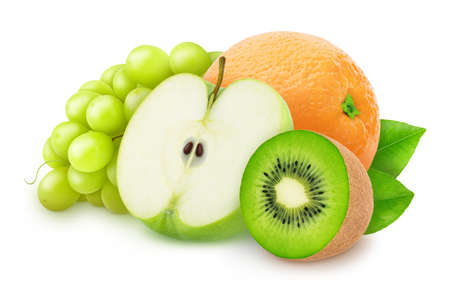 Composition with mix of whole and cutted fruits isolated on a white background