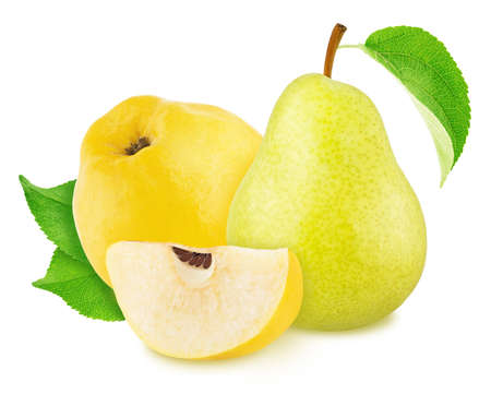 Composite image with quince and pear isolated on white background. As package design element.