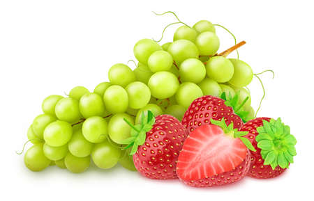 Composition with white juicy grape and red strawberry isolated on a white background Фото со стока - 134853053