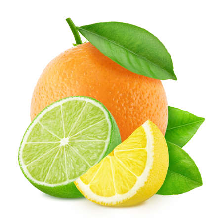 Multicolored composition with mix of different citrus fruits isolated on a white background in full depth of field