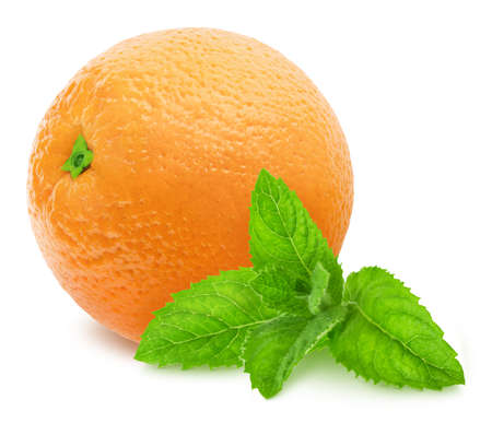 Composition with whole orange and sprig of mint isolated on a white background 版權商用圖片