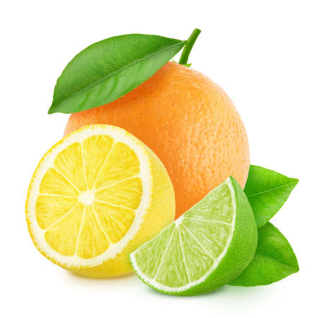 Multicolored composition with mix of different citrus fruits isolated on a white background