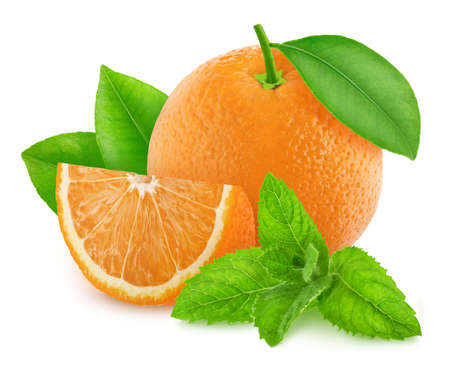 Composition with cutted and whole orange and sprig of mint isolated on a white background
