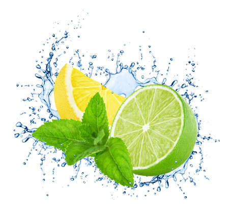 Cutted lime and lemon with mint in water splashes isolated on white background. Full depth of field.