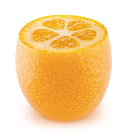 Half of kumquat isolated on white background.