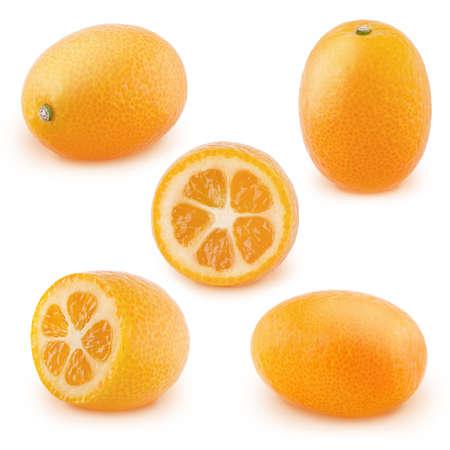 Set of kumquat fruits isolated on white background. Banco de Imagens