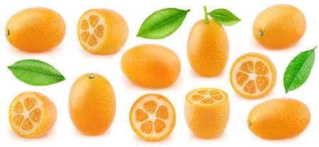 Large set of kumquat fruits isolated on white background.