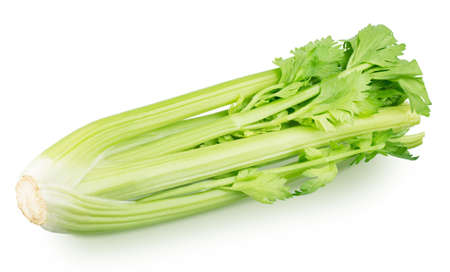 Bunch of fresh celery stalk with leaves isolated on a white background. Stockfoto