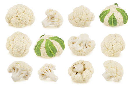 Large set of whole and cutted cauliflower isolated on a white background. Clip art image for package design. Standard-Bild