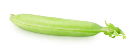 Closeup of whole green pea pod isolated on a white background.