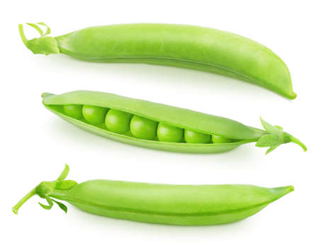 Set of whole and opened pea pods with beans isolated on a white background. Clip art image for package design.