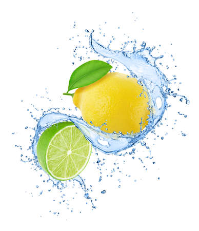 Composition with citrus fruits - lemon and lime in water splashes isolated on white background. Composite image for package design.
