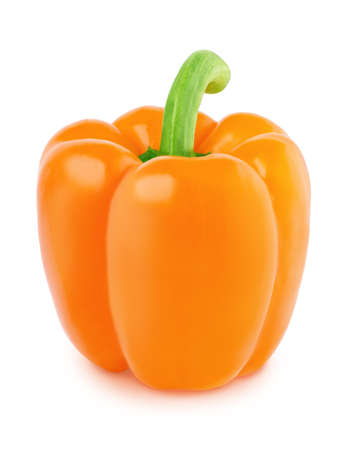 Fresh whole orange Bell pepper isolated on a white background. Clip art image for package design.