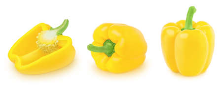 Set of yellow Bell peppers isolated on a white background. Clip art image for package design.