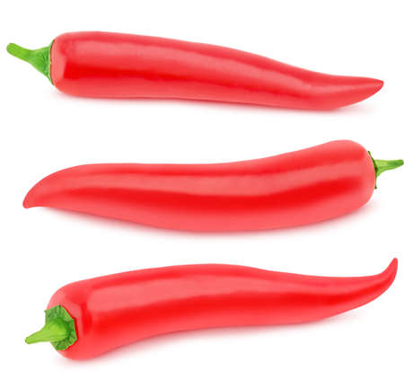 Set of red hot chili peppers isolated on a white background. Clip art image for package design.