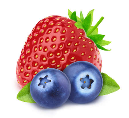 Colourful composition with assortment of berries - strawberry and blueberry, isolated on a white background Stock fotó