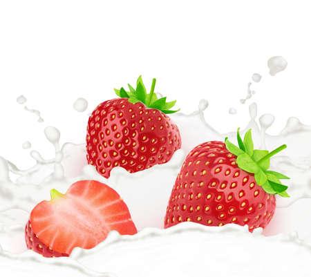 Strawberry in milk splashes isolated on white background. Stock Photo