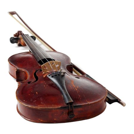 Old violin isolated on white Stock Photo