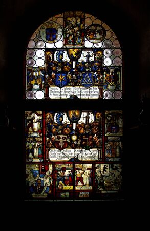 Medieval stained glass window in Cathedral Stock Photo - 6618107