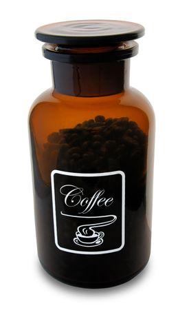 Frasco con granos de café Foto de archivo - 6618085