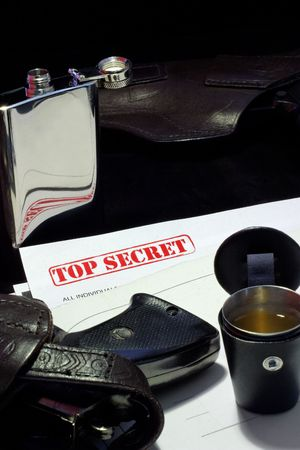 Secret papers, guns and brandy - spy sucsess concept Stock Photo - 6618116