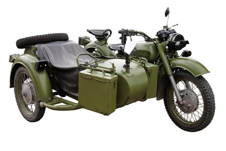 Vintage military motorcycle Stock Photo
