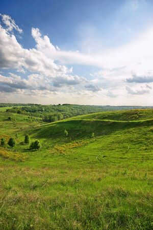 Spring walley landscape with sun backlight Stock Photo - 6657083