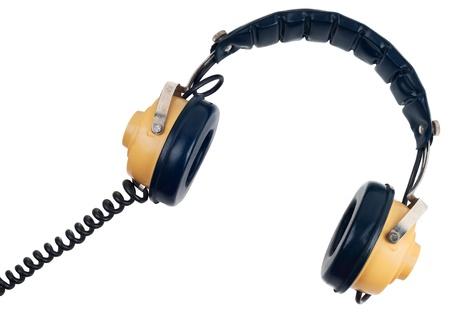 Vintage headphones isolated on white