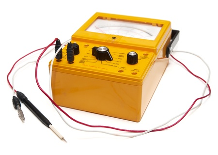 capacitance: Ohm meter isolated on white Stock Photo
