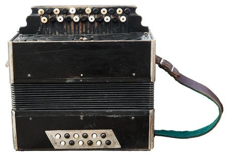 Vintage accordion (bayan) isolated on white. Stock Photo