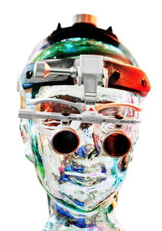 Futuristic vision device on a android head photo