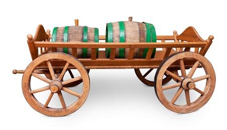 craftsmanship: Barrels on cart isolated on white.