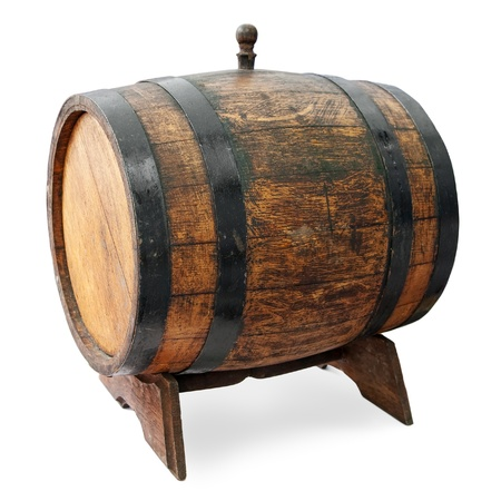 ferment: Barrel on stand isolated.