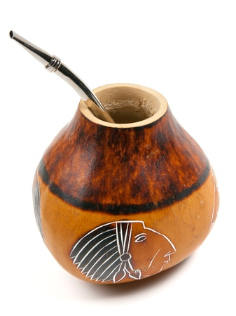 mate drink: Yerba mate drinking set - calabash and bombilla Stock Photo