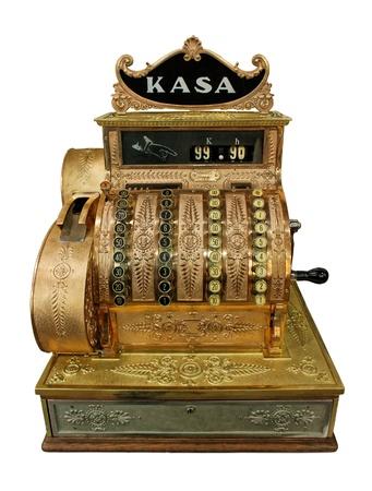 caja registradora: Vintage efectivo-escritorio en blanco con trazado de recorte Foto de archivo