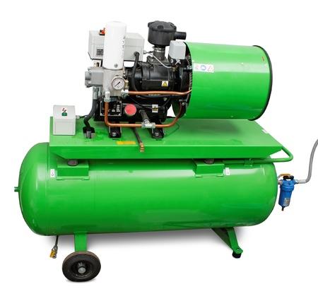 compressor: Modern screw type air compressor isolated Stock Photo