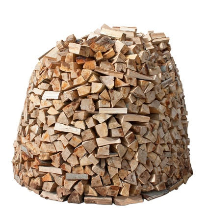 smoke stack: Firewood stack isolated over white.  Stock Photo