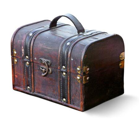 overnight: Vintage suitcase isolated.