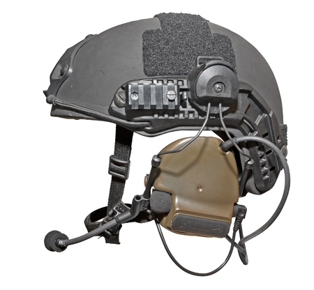 kevlar: Modern special troops helmet with headphones and microphone isolated on white.  Stock Photo