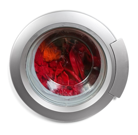 clothes washer: Ventana de lavadora aislado Foto de archivo