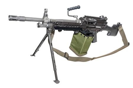 New machine gun on the tripod isolated on white. Stock Photo
