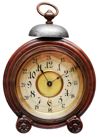 Vintage alarm-clock isolated on white. Clipping path included. photo