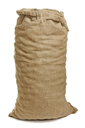 burlap texture: Full big sack isolated on white Stock Photo