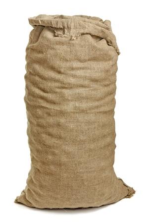 sack background: Full big sack isolated on white Stock Photo