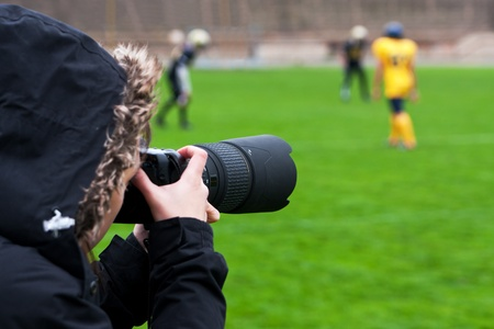 rugger: Professional photographer shooting rugby Stock Photo