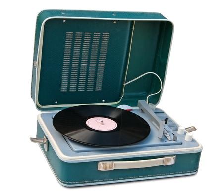 giradisco: Retro giradischi portatile isolato. Archivio Fotografico