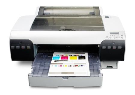 inkjet: Impresora de inyecci�n de tinta como visualizar� con destino de calibraci�n de color impresa Foto de archivo