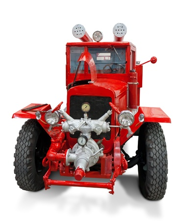 firetruck: Retro fire track isolated on white.  Stock Photo